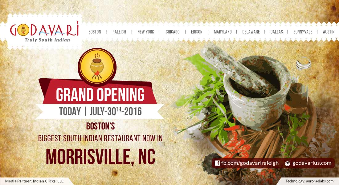 'Godavari' Truly South Indian restaurant grand opening tomorrow - July 30 2016 at Morrisville, NC